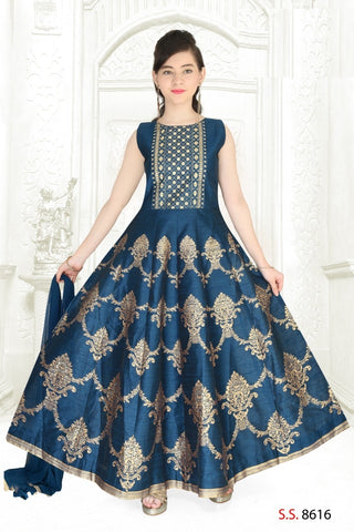 Blue and Gold Anarkali Suit