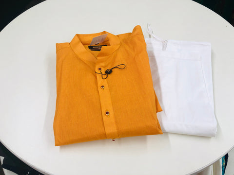 Orange and White Kurta Pyjama