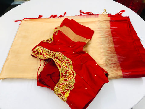Cream and Red Pure Silk Saree