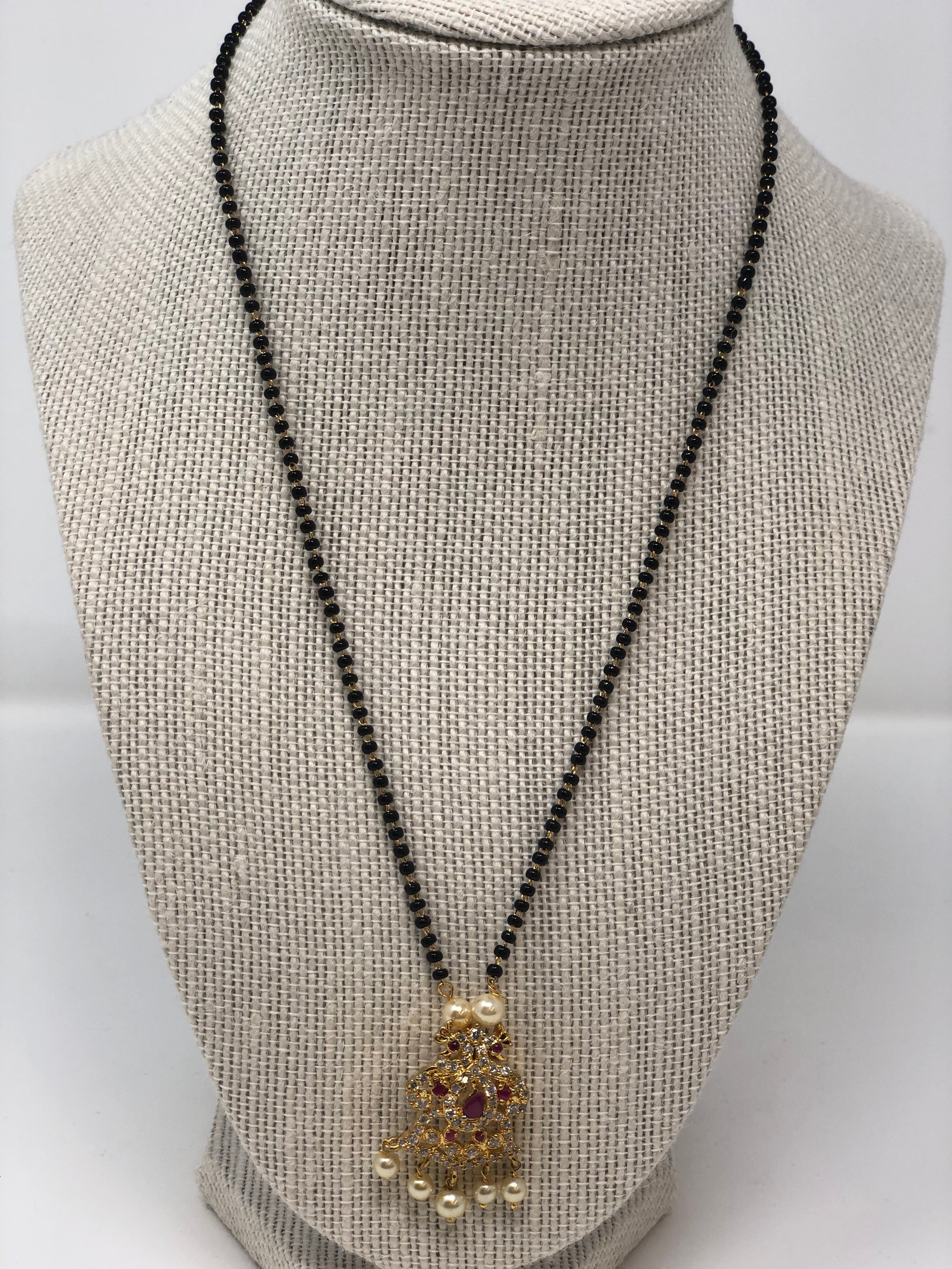Black Beads Chain with Peacock Motif Locket