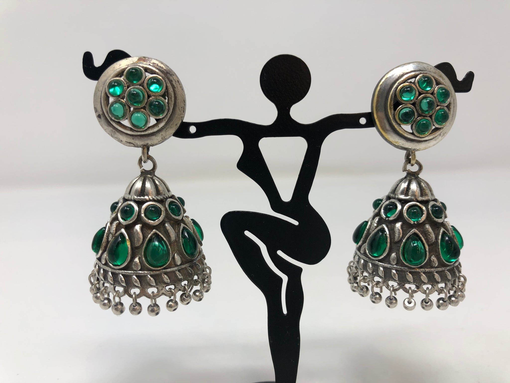 Oxidized Jhumkas with Green Stones