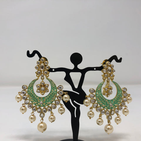Turquoise Enamel Chandbali Earrings
