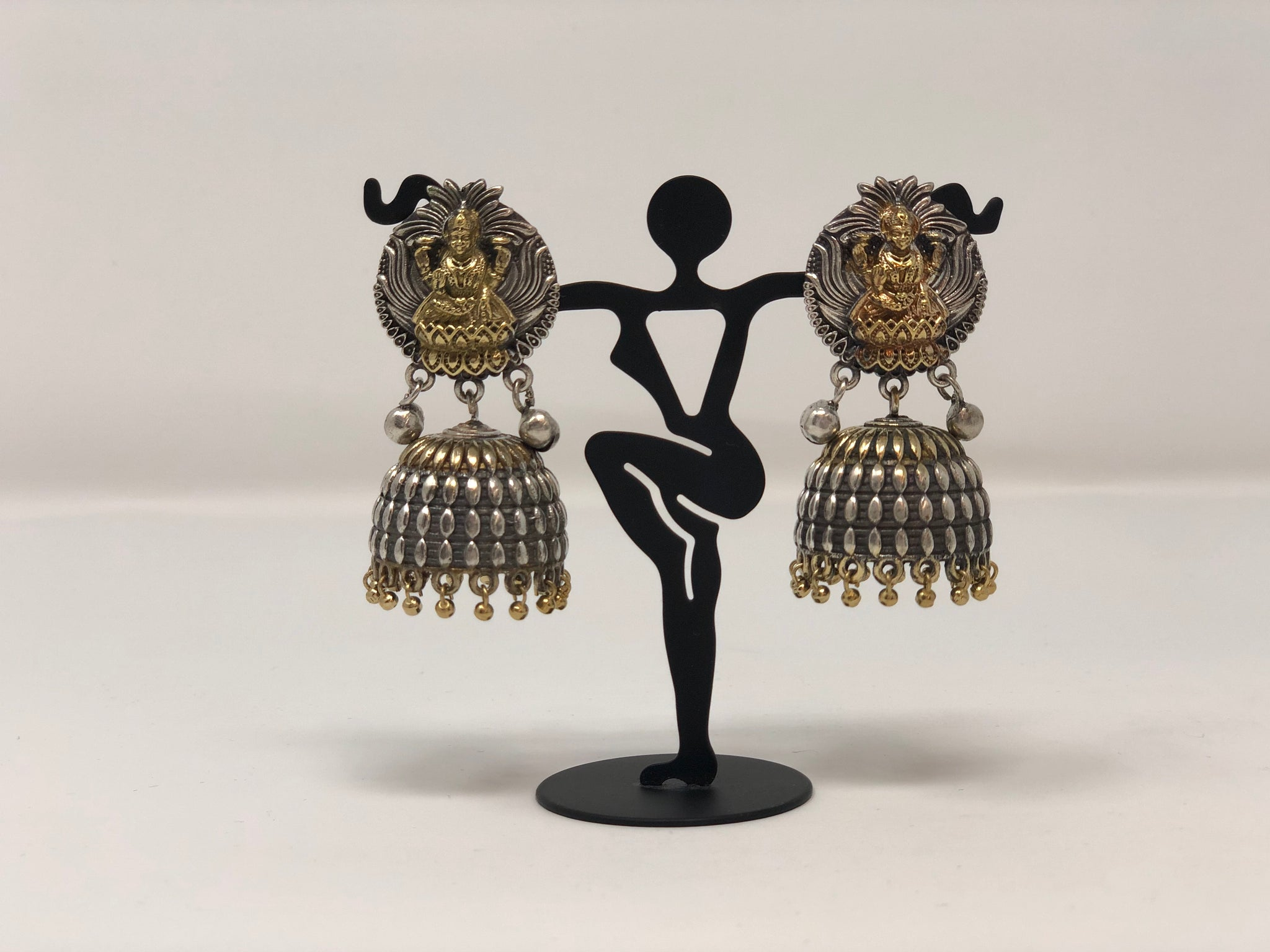 Oxidized Jhumkas with Lakshmi Motif