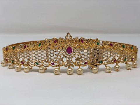 CZ Stones Waist Belt with Pearl Drops