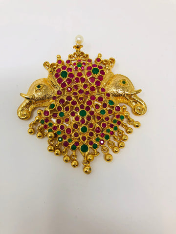 Elephant Motifs Locket with Semi Rubies and Emeralds