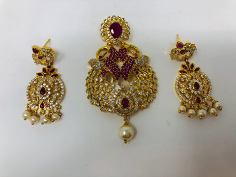 Semi Rubies and White CZ Stones Pendant Set