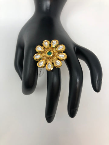 Kundan Adjustable Ring with Green Stone