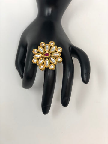 Kundan Adjustable Ring with Pink Stone
