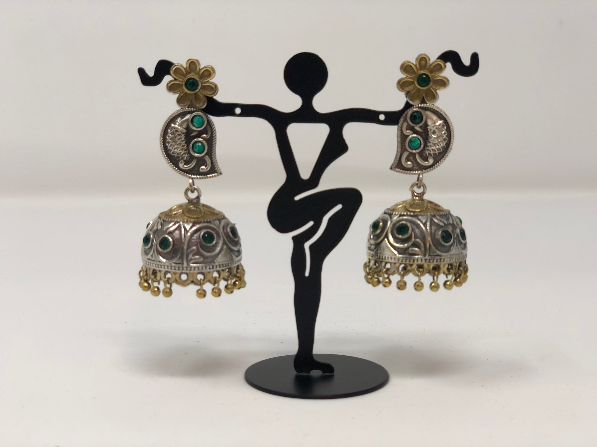 Oxidized Silver and Gold Jhumkas with Green Stones - Sakkhi Style