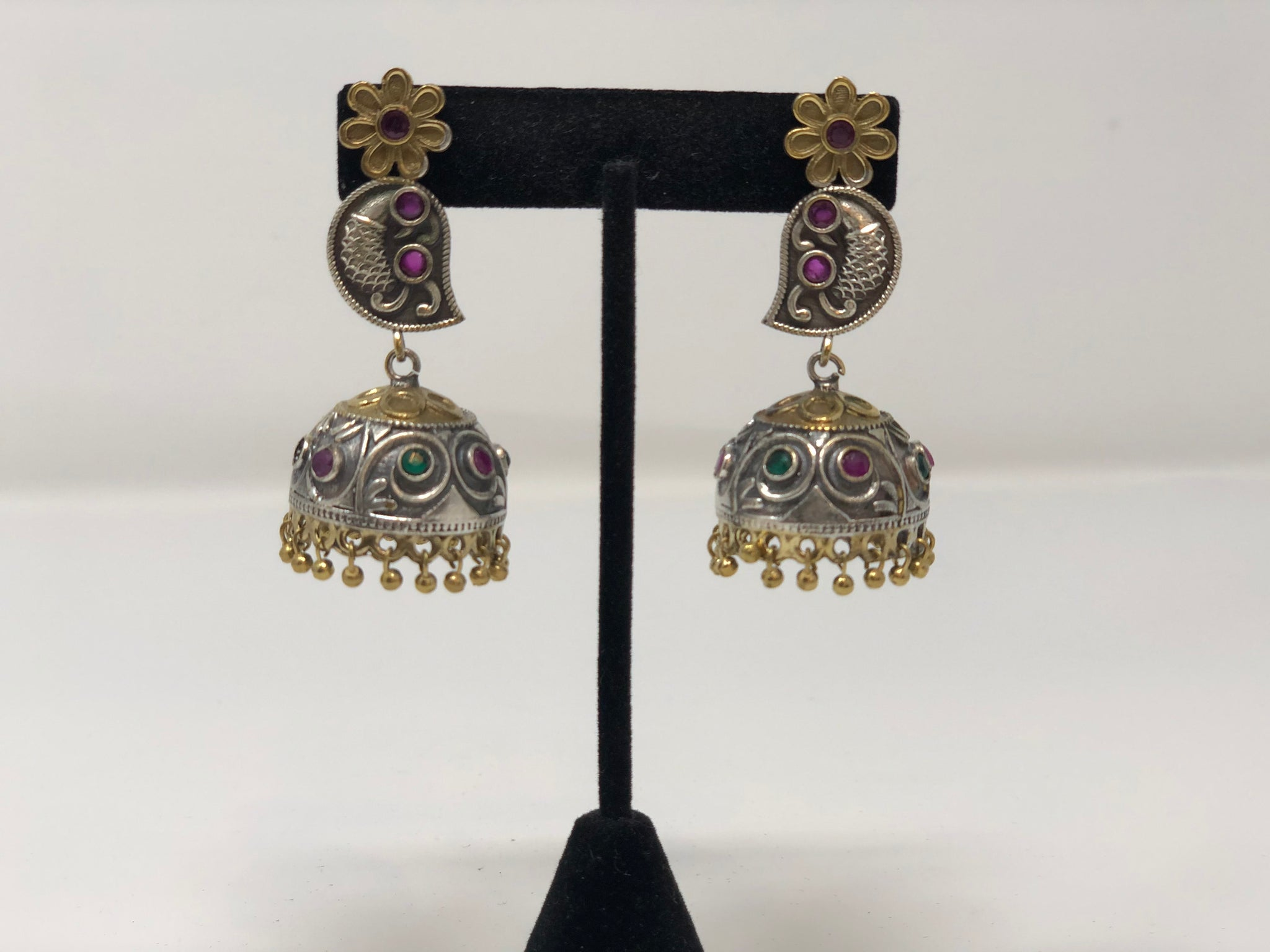 Oxidized Silver and Gold Jhumkas with Pink and Green Stones