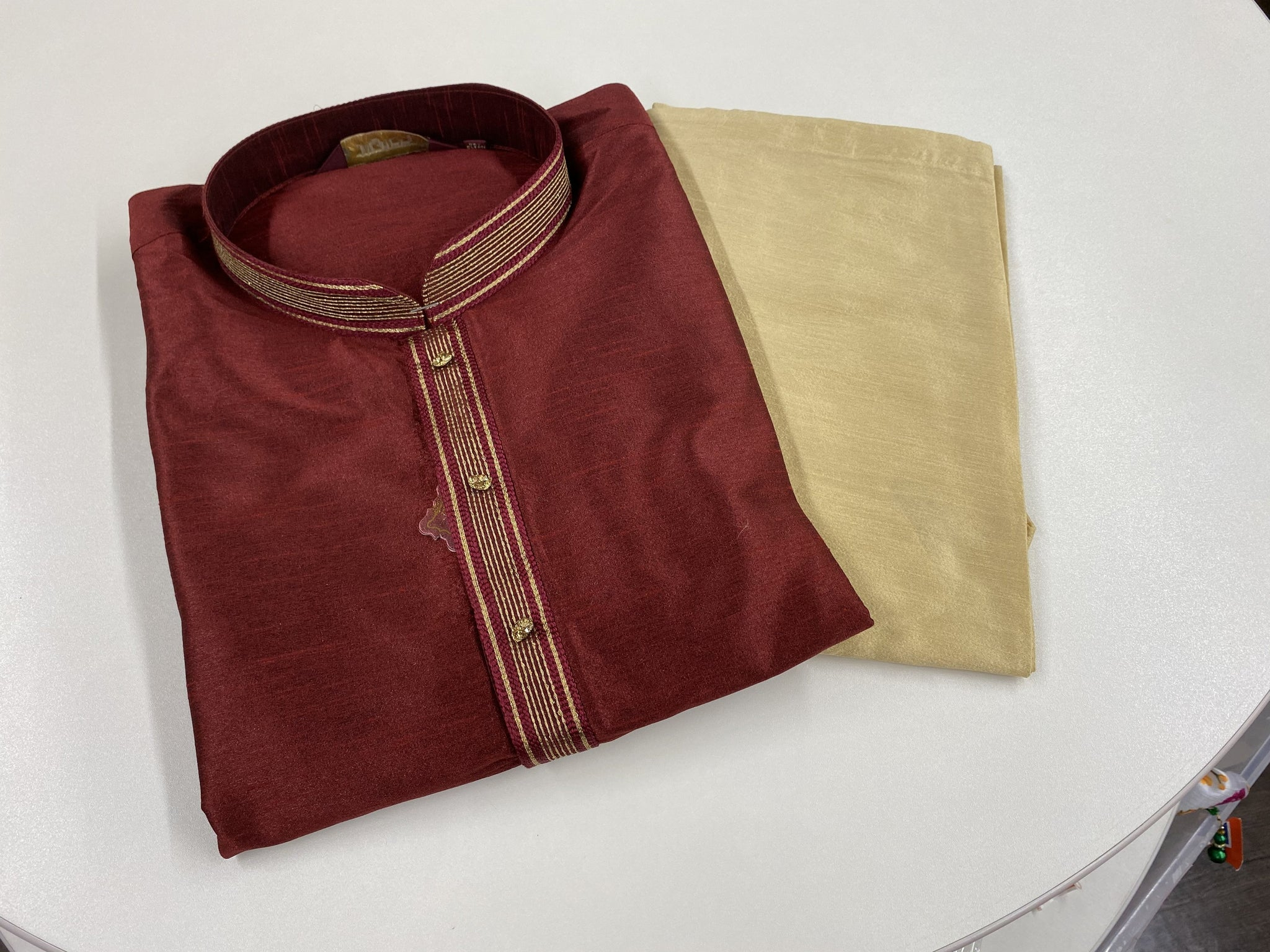 Maroon and Gold Kurta Pyjama