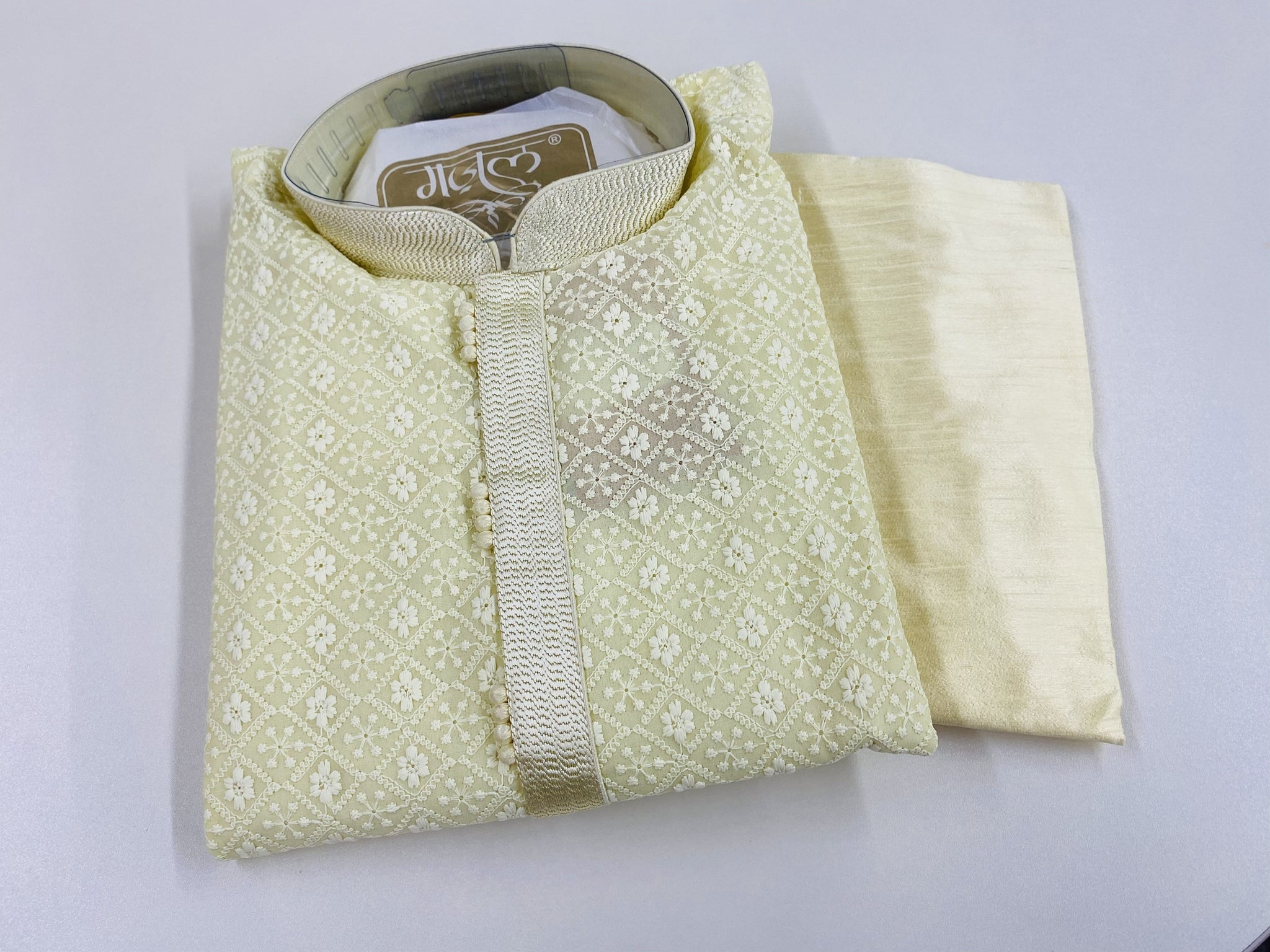 Yellow Chikankari and Off-White Kurta Pyjama