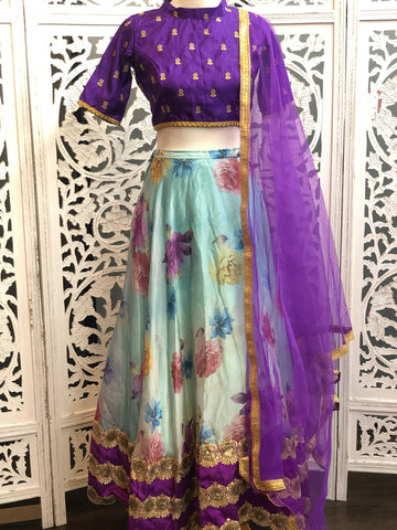 Purple and Blue Lehenga Choli
