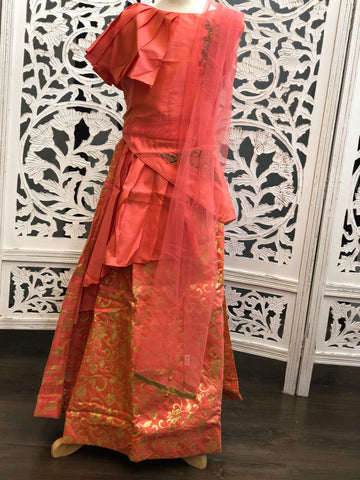Peach and Gold Lehenga Choli
