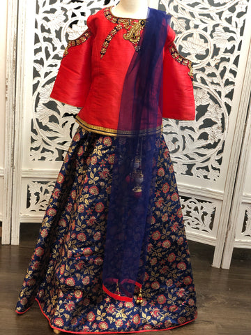 Red and Navy Blue Lehenga Choli