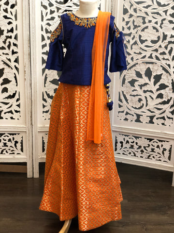 Navy Blue and Orange Lehenga Choli