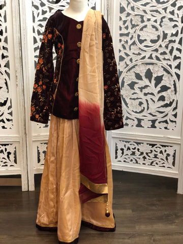 Maroon and Pastel Pink Lehenga Choli