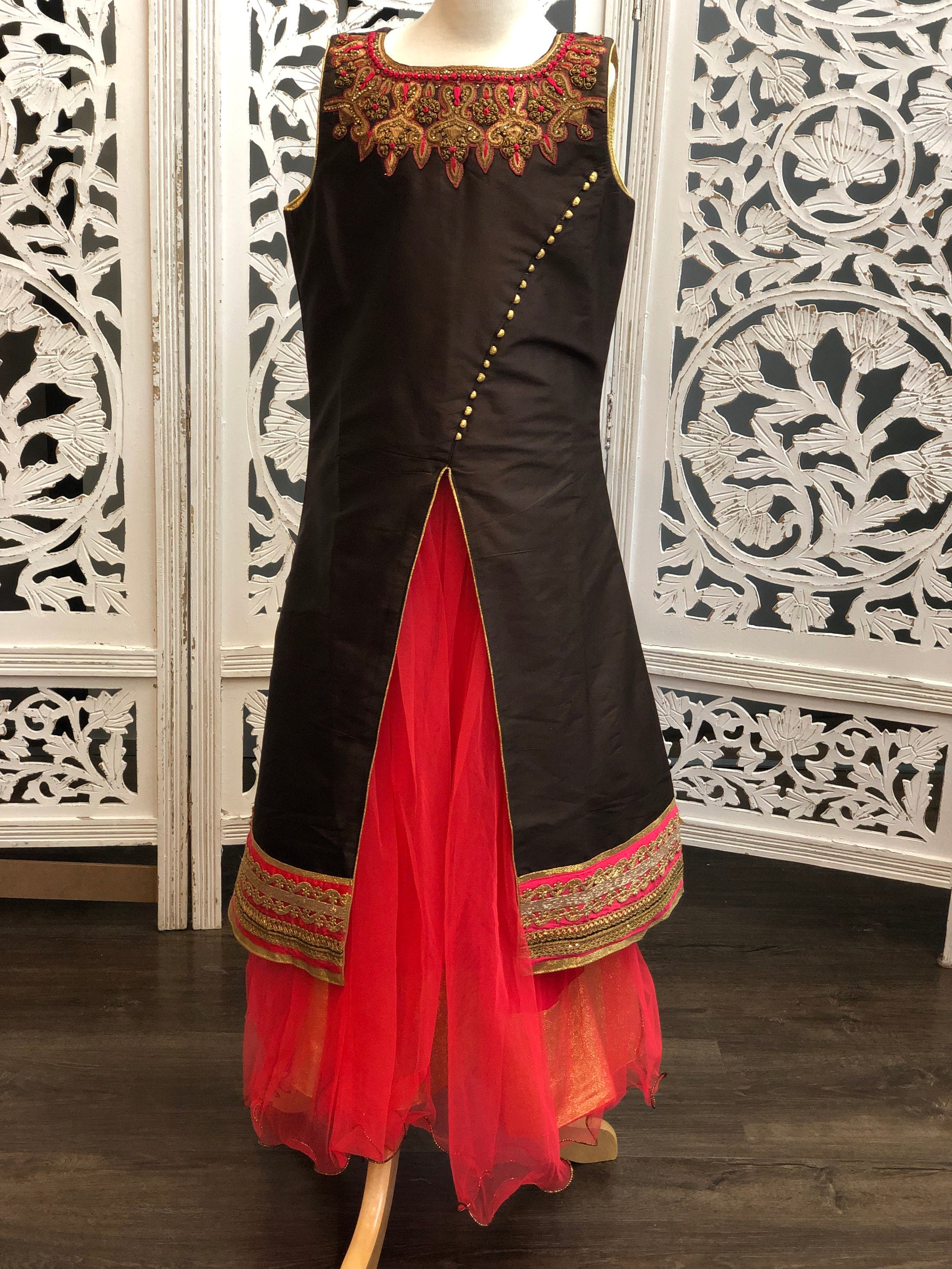 Brown and Pink Lehenga Suit