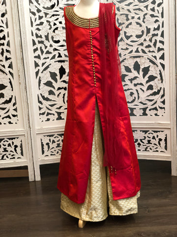 Red and Off-White Lehenga Suit