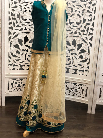Green and Cream Lehenga Choli
