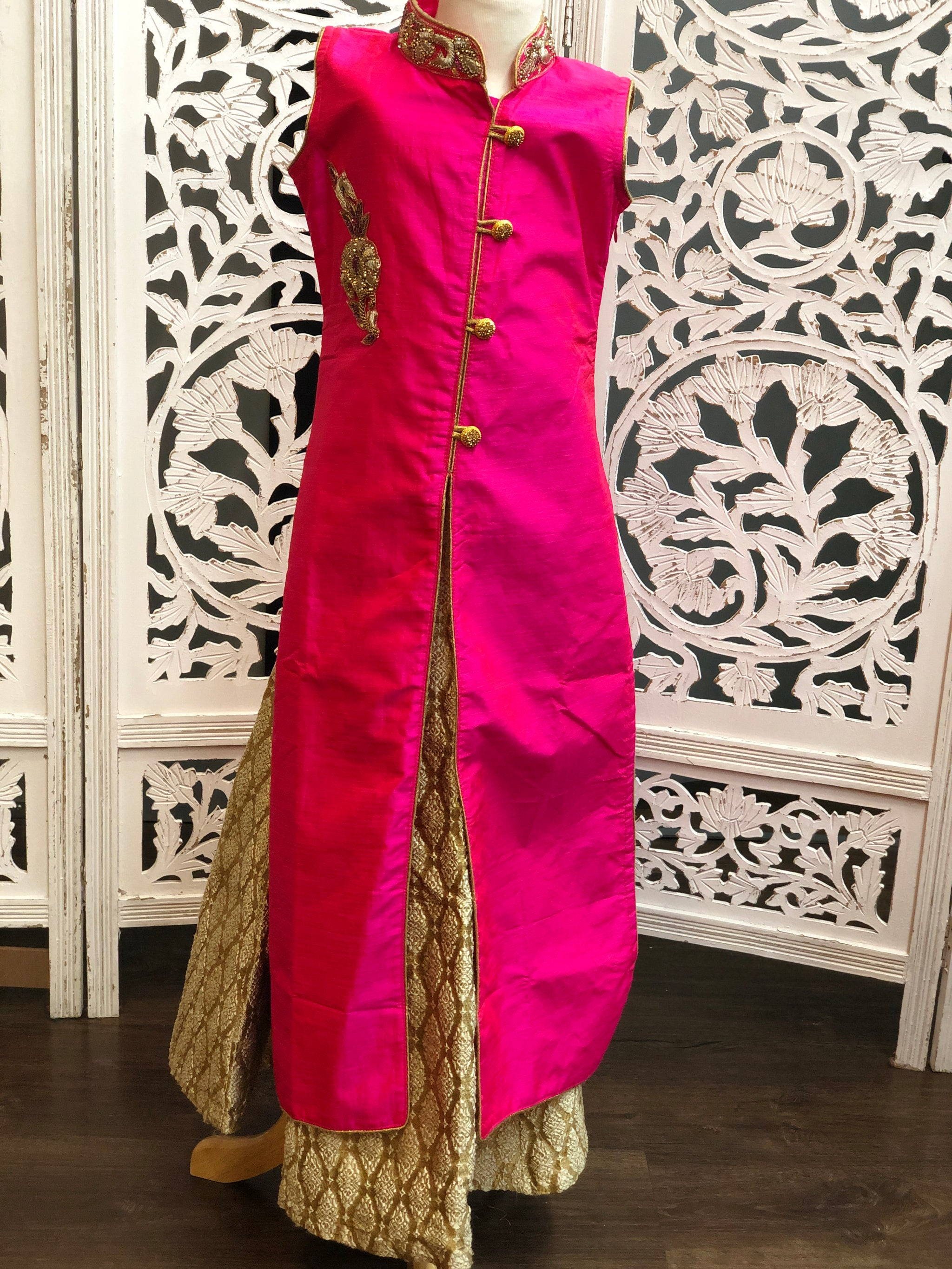 Pink and Dark Gold Lehenga Suit