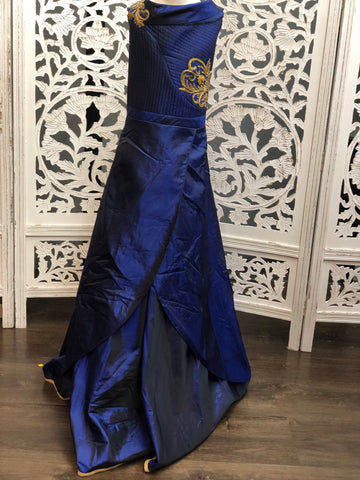 Deep Blue Off-Shoulder Gown