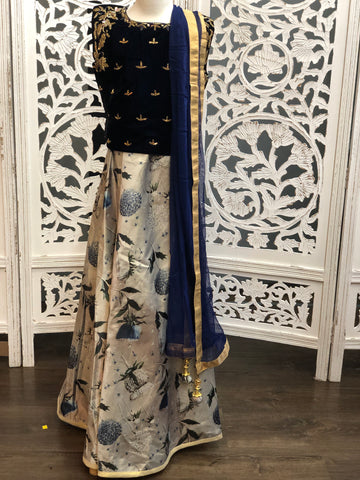Navy Blue and Grey Lehenga Choli