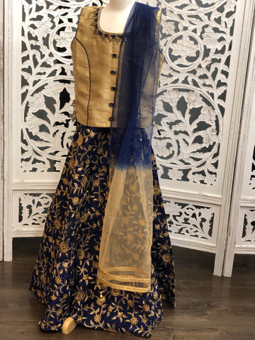 Gold and Navy Blue Lehenga Choli