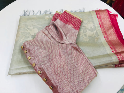 Grey and Pink Tissue Saree