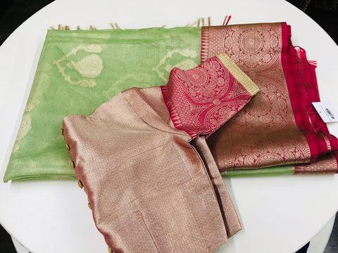 Green and Pink Tissue Saree