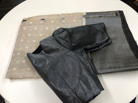 Grey and Black Tissue Saree