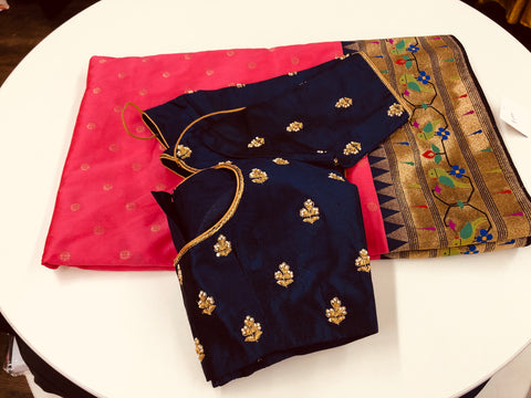 Pink and Navy Blue Banaras Paithani Saree