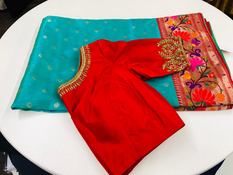 Turquoise and Red Banaras Paithani Saree
