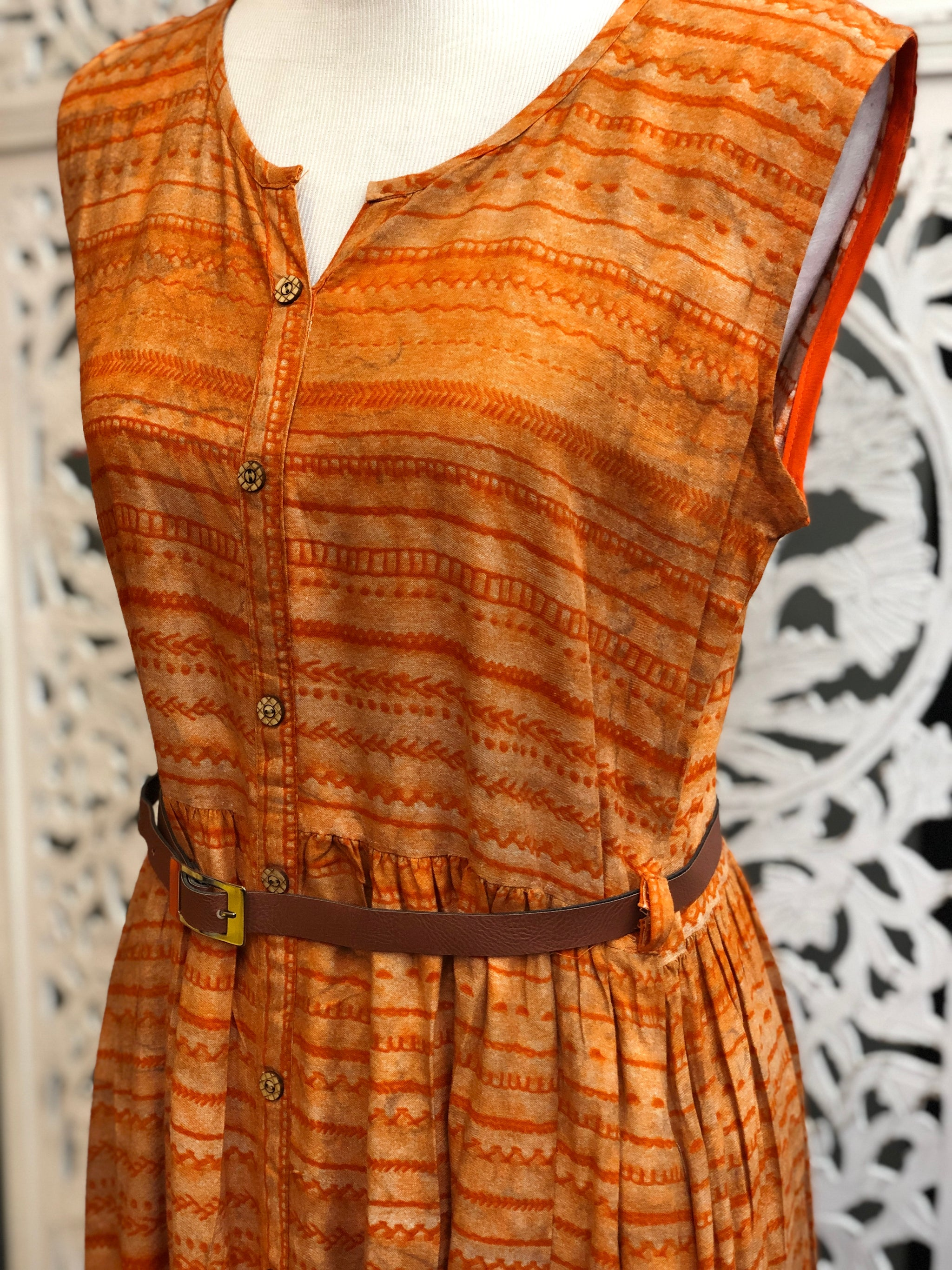 Orange Rope Belt Kurti