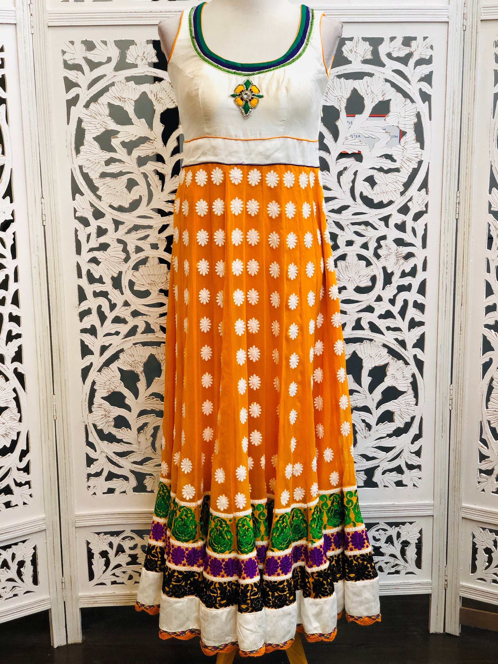 White and Orange Anarkali
