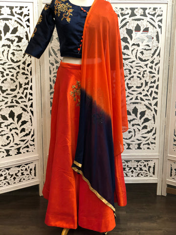 Navy and Orange Lehenga Choli