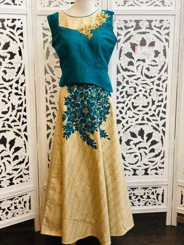 Blue and Beige Lehenga Choli