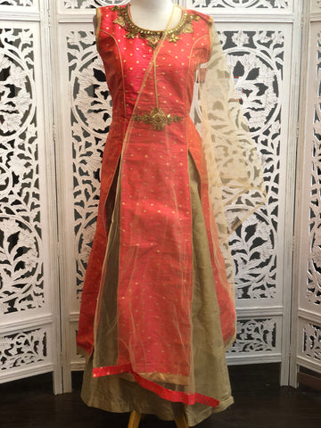 Pink and Gold Lehenga Suit