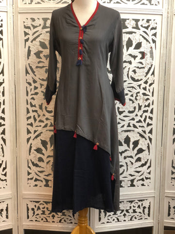 Grey and Navy Blue Kurti
