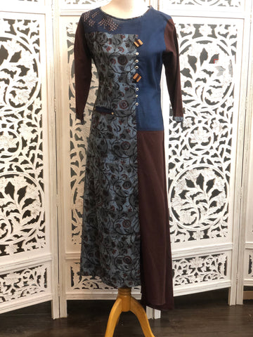 Navy Blue and Brown Kurti