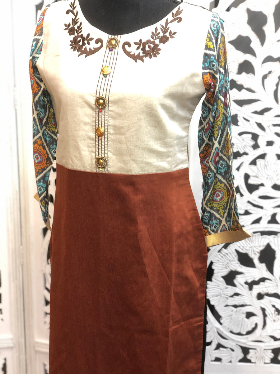 Off-White and Brown Kurti