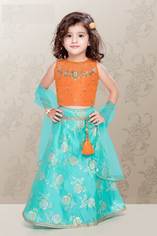 Orange and Blue Lehenga Choli