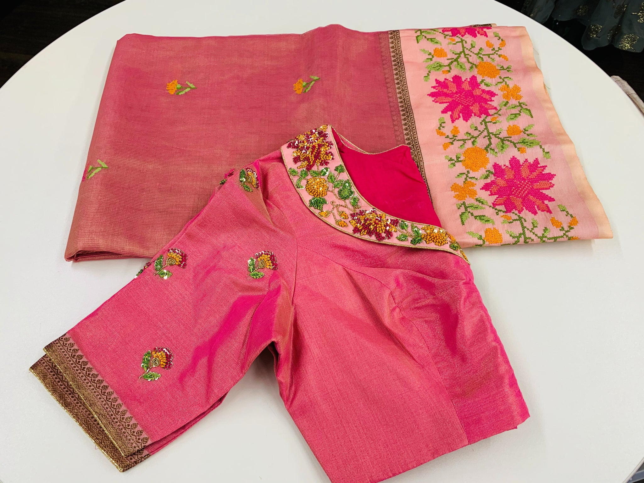 Pink and Gold Tissue Saree