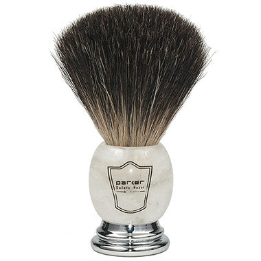 PARKER IVORY MARBLED HANDLE BLACK BADGER SHAVING BRUSH