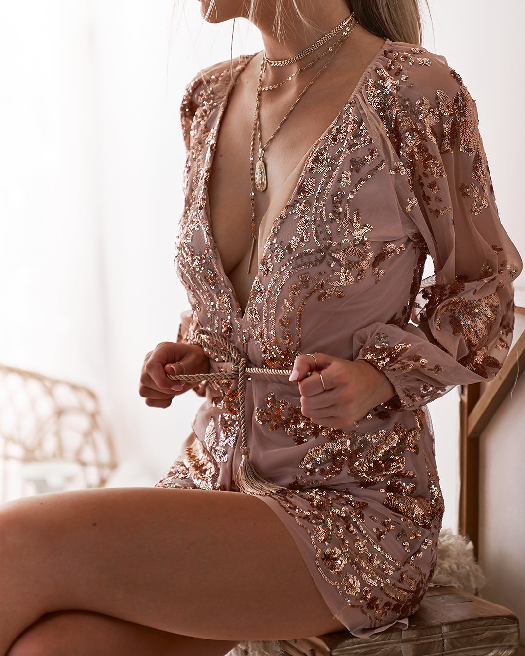 0c6a9389b49 ZOLA SEQUIN PLAYSUIT - Born To Be Chic