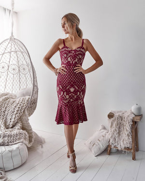 LILAH DRESS - DEEP RED