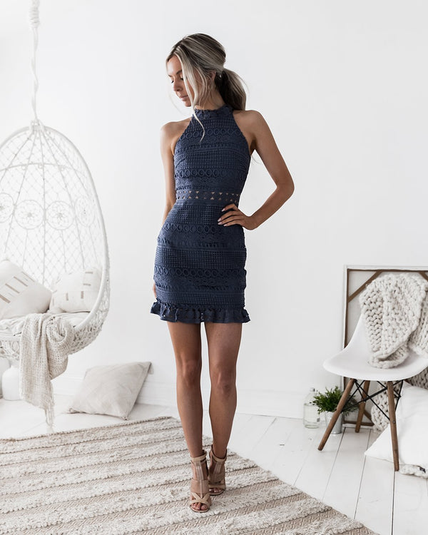 Rivers Mini Dress Steel Blue Born To Be Chic