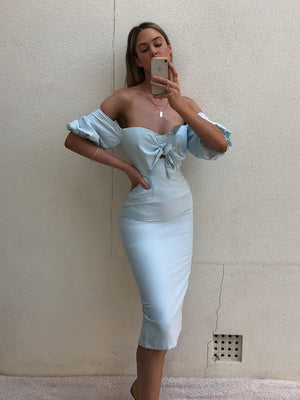 SHELBY MIDI DRESS - BABY BLUE