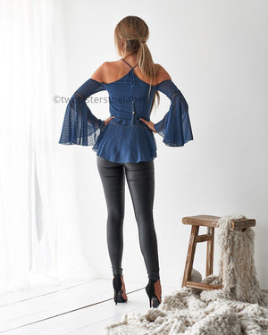JOSIE TOP - STEEL BLUE