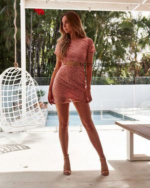 SHAY LACE DRESS - PINK